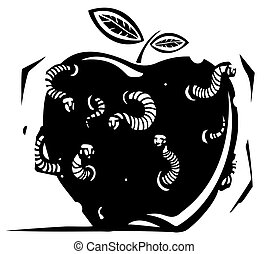 Rotten Wormy Apple - Woodcut style expressionistic image of...