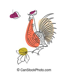 Fantasy Rooster in Russian ornamental style - Vector Fantasy...