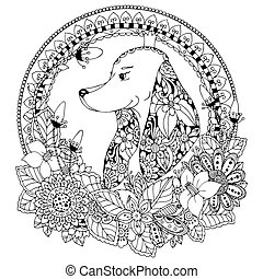 Vector illustration Zen Tangle Dog in round frame floral....
