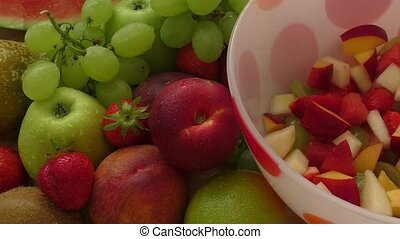 Fresh tasty fruit salad in the bowl