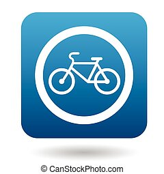 Sign bicycle path icon, simple style