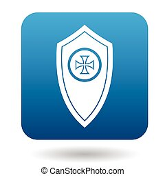 Shield with a cross icon, simple style - Shield with a cross...