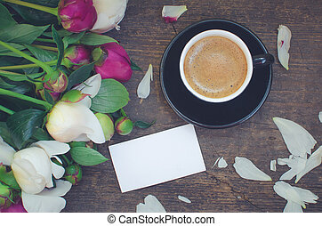 Coffee and flowers - A cup of coffee and flowers Peonies on...