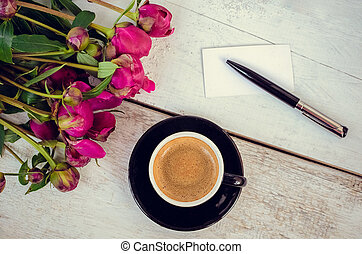 Coffee and flowers - A cup of coffee and pink flowers...