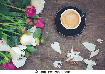 Coffee and flowers - Coffee break Coffee and flowers peony A...