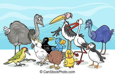 birds group cartoon illustration - Cartoon Illustration of...