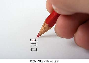 checkbox - black checkbox white page and red pencil