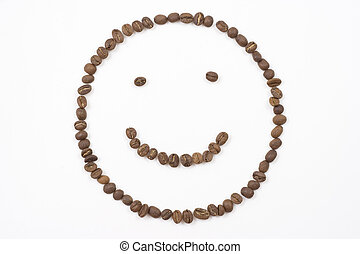 smiley face made out of coffee beans on white background