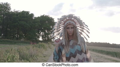 Indian woman dancing with the sun - Native American Indian...