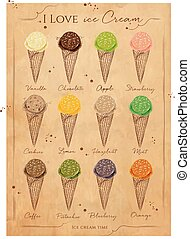 Ice cream menu kraft - Ice cream cone menu with different...