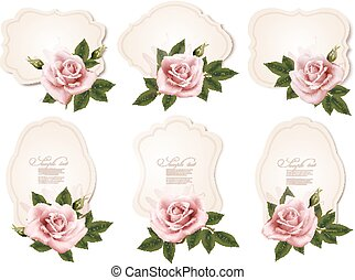 Collection of retro greeting cards with pink roses. Vector illustration