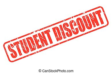 STUDENT DISCOUNT RED STAMP TEXT ON WHITE