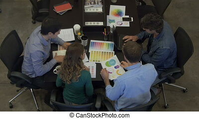 Top view meeting businesspeople table office diverse mix race group