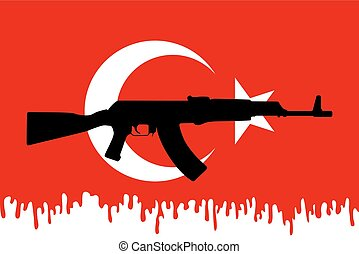 Graphic design and symbol of coup attempt in Turkey - Flag...
