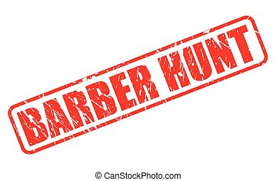 BARBER HUNT RED STAMP TEXT ON WHITE