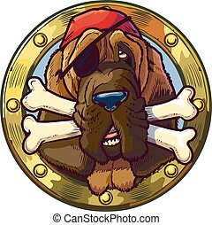 Pirate Bloodhound Dog with Bones - Vector cartoon clip art...