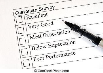 Fills in the feedback survey