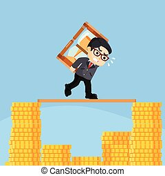 businessman running on top of stack of coin with hourglass
