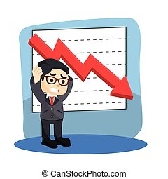 businessman stress with graphics