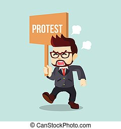businessman holding sign protest