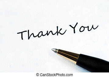 Thank You - Ball pen on white background showing Thank You...