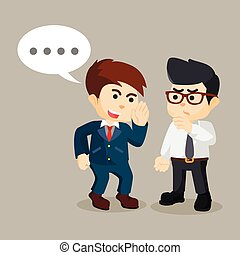 businessman persuade his friend to gossip
