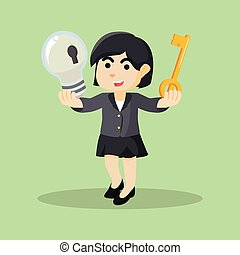 businesswoman holding key and bulb
