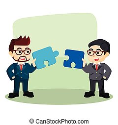 two businessman collaborate to assemble puzzle
