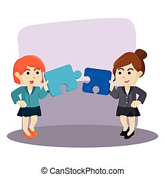 two businesswoman collaborate to