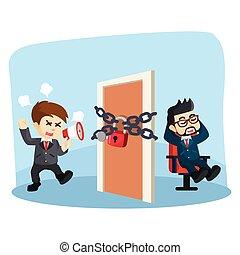 boss locked the door of a busines