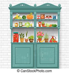 vintage cupboard with delicious organic food and different herb