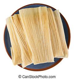 Tamales, en, azul, placa, aislado