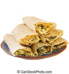 queso, y, chile, Tamales, aislado