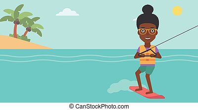 Professional wakeboard sports woman. - An african-american...