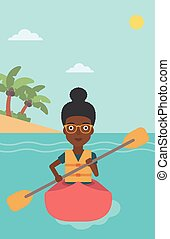Woman riding in kayak vector illustration. - An...