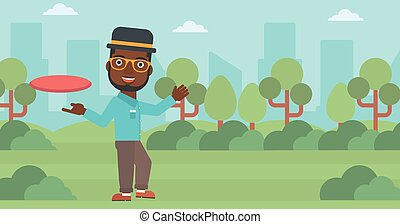 Man playing flying disc vector illustration - An...