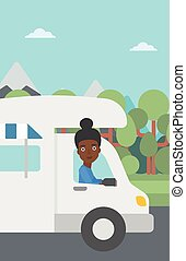 Woman driving motor home vector illustration - An...