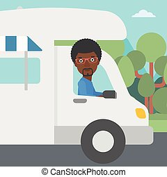Man driving motor home vector illustration - An...