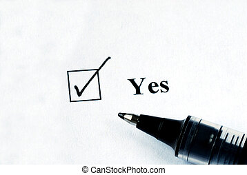 Select the Yes option with a pen