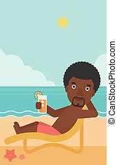 Man sitting in chaise longue vector illustration. - An...