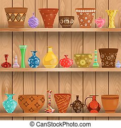modern vases and floral pots for sale on shelves in a store