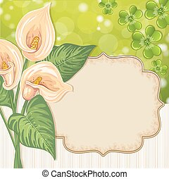 Greeting card with Lily Calla