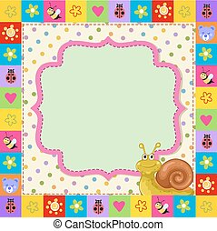 Cute kid frame with cartoon snail