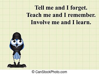 Involve me and I learn quotation on graph paper background...