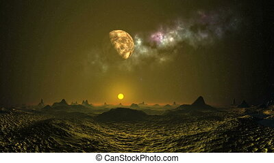 Alien sunset under the moon and neb - Surreal alien...