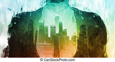 Businessman Corporate Cityscape Urban Scene City Buildings...