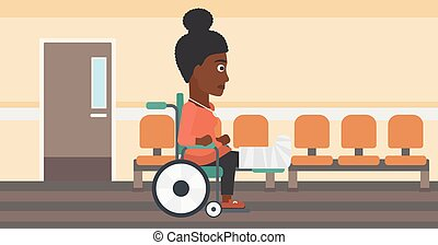 Woman with broken leg sitting in wheelchair. - An...