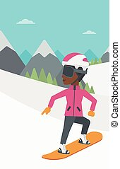 Young woman snowboarding vector illustration - An...