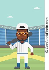 Baseball player with bat vector illustration - An...