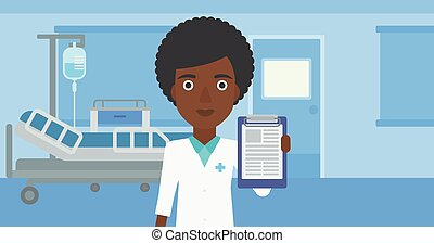 Doctor with clipboard and MRI machine - An african-american...